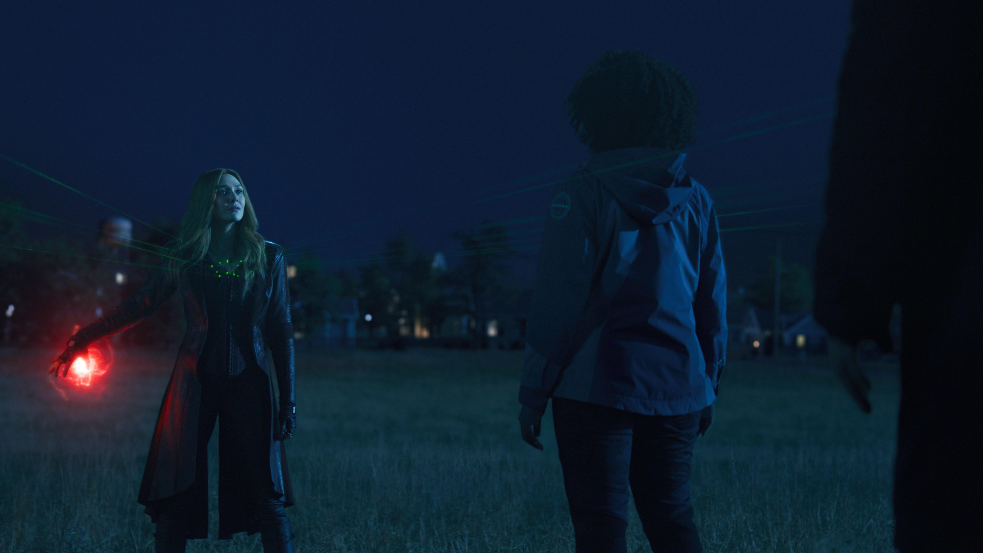 (L-R): Elizabeth Olsen as Wanda Maximoff and Teyonah Parris as Monica Rambeau in Marvel Studios' WANDAVISION exclusively on Disney+. Photo courtesy of Marvel Studios. ©Marvel Studios 2021. All Rights Reserved.