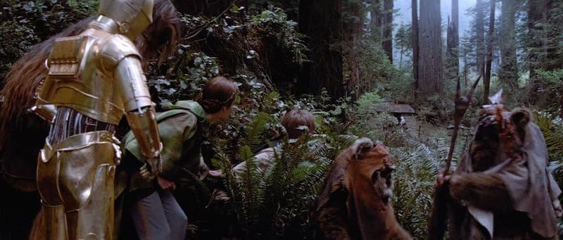 The Ewoks preparing to help the Rebel strike team attack the shield generator bunker
