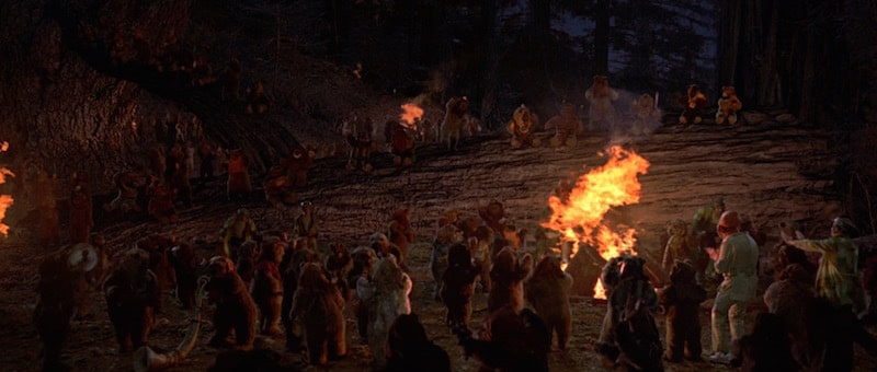 The Ewoks and Rebels celebrate their victory