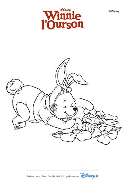 Coloriage Winnie chasse les oeufs