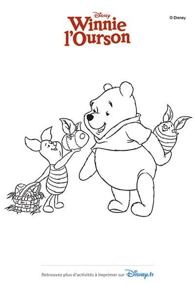 Coloriage Winnie et Porcinet s'offrent des oeufs