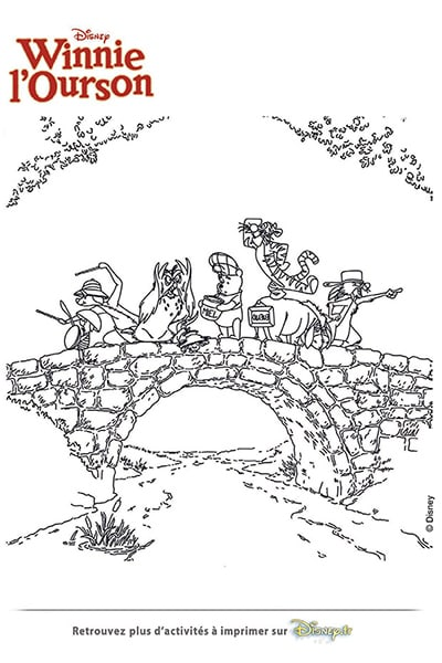 Coloriage Winnie et ses amis à la recherche du miel