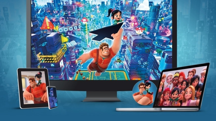 Stills from Ralph Breaks the Internet displayed on a TV, laptop, tablet, mobile and disc