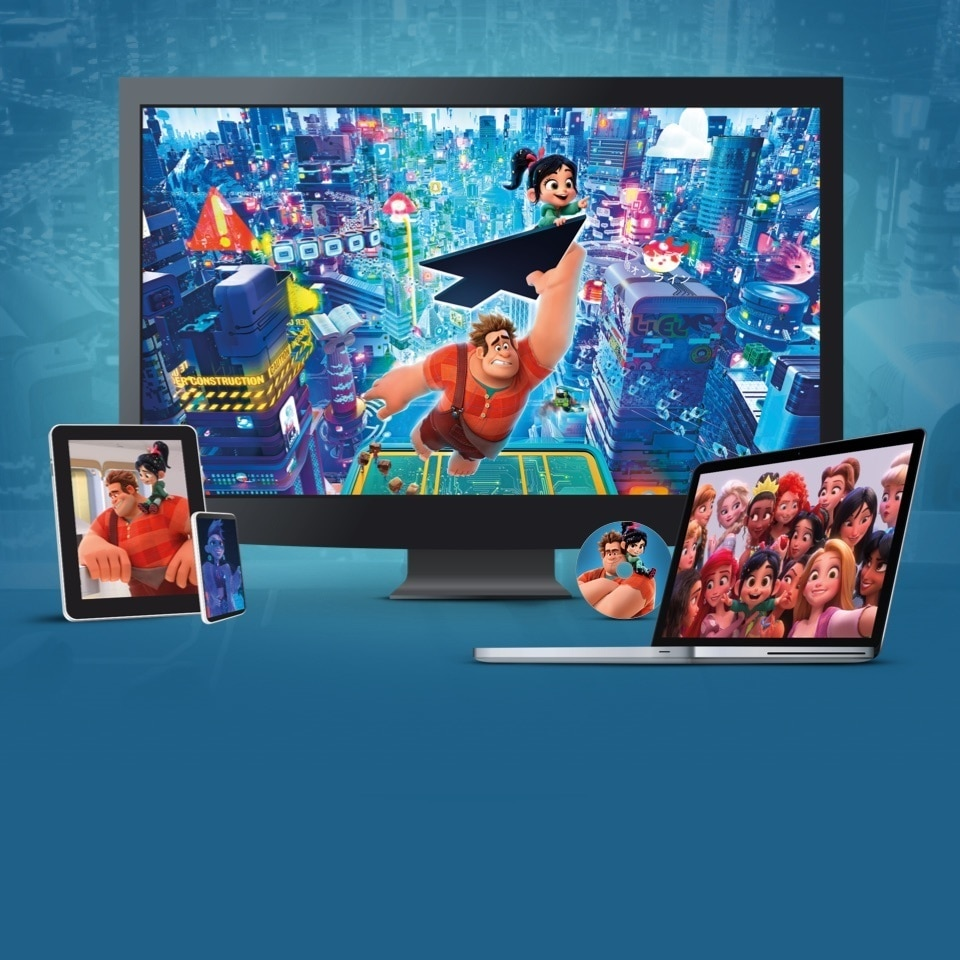 Stills from Ralph Breaks the Internet displayed on a TV, laptop, disc, tablet and mobile device