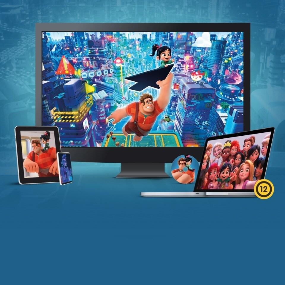 Állóképek a Ralph lezúzza a netet című filmből tévén, laptopon, táblagépen és mobilon