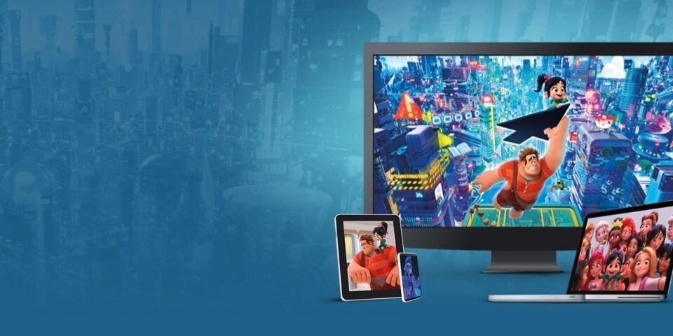 Στιγμιότυπα από το Ραλφ Εναντίον 'Ιντερνετ, προβαλλόμενα σε τηλεόραση, λάπτοπ, τάμπλετ και κινητό τηλέφωνο