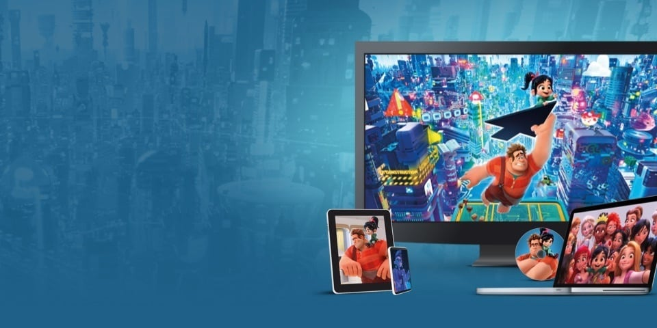 Beelden uit Ralph Breaks The Internet op een tv, laptop, tablet en mobiel