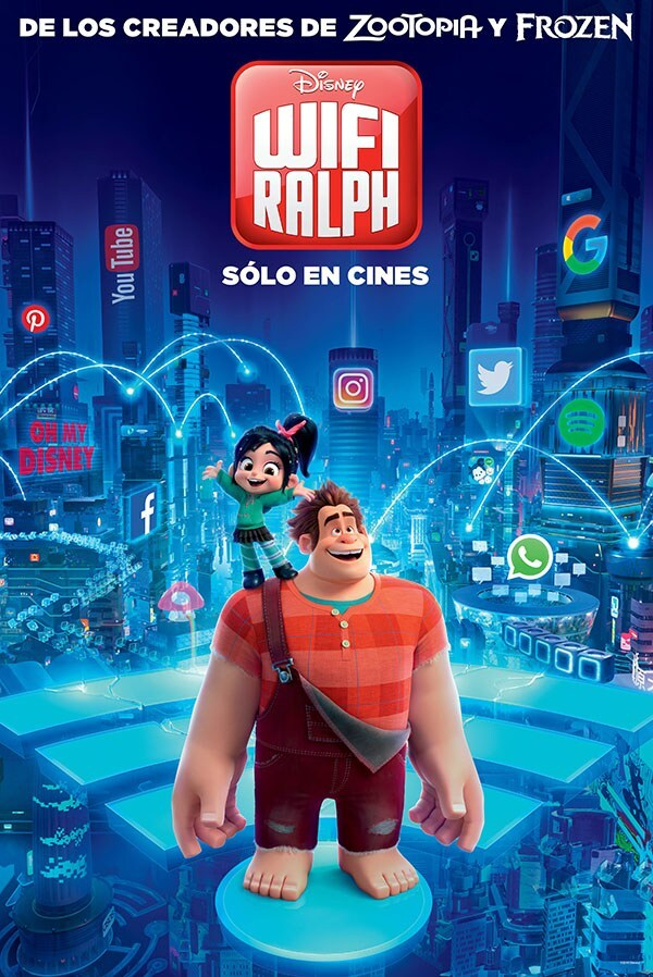 Ralph Breaks the Internet Latin America Poster- Ralph and Vanellope in the internet standing on wifi signal symbol