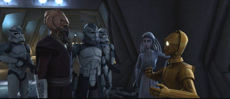 Commander Wolffe and the 104th Battalion standing with Plo Koon, Adi Gallia, and C-3PO