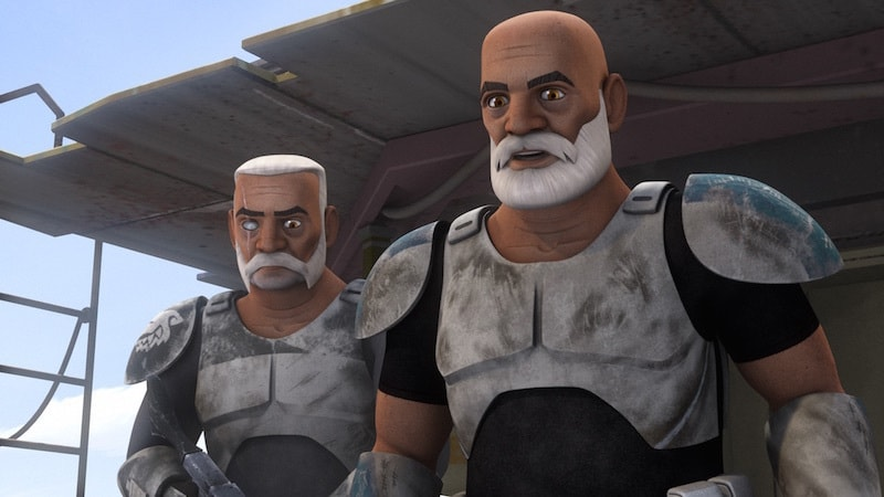 Commander Wollfe standing beside Captain Rex on Seelos