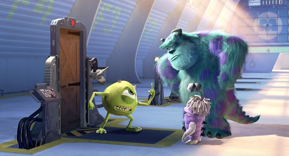 """Mike, Sulley, and Boo next to a door in the animated movie """"Monsters, Inc."""""""