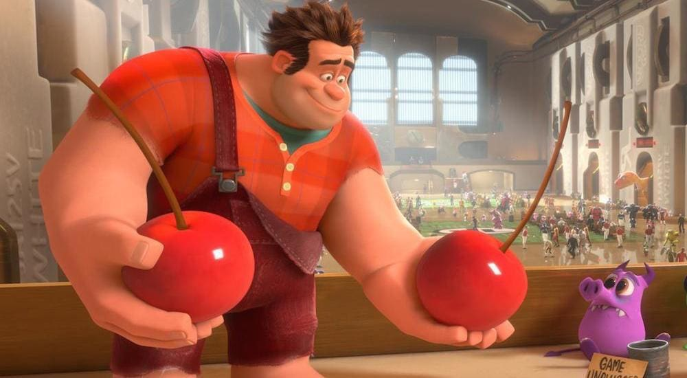 """Ralph holding cherries in the animated movie """"Wreck It Ralph"""""""