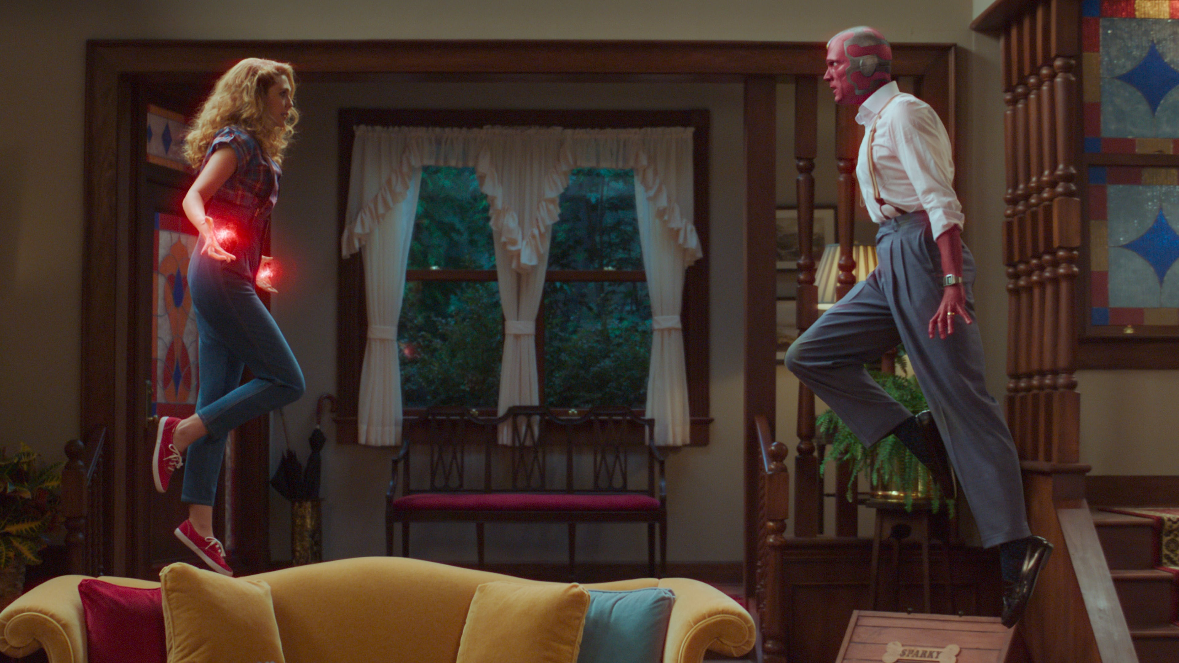 Elizabeth Olsen as Wanda Maximoff and Paul Bettany as Vision in Marvel Studios' WANDAVISION exclusively on Disney+. Photo courtesy of Marvel Studios. ©Marvel Studios 2021. All Rights Reserved