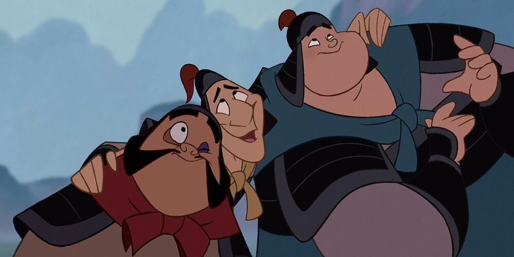 "Characters Yao, Ling, and Chien Po in the animated movie ""Mulan"""