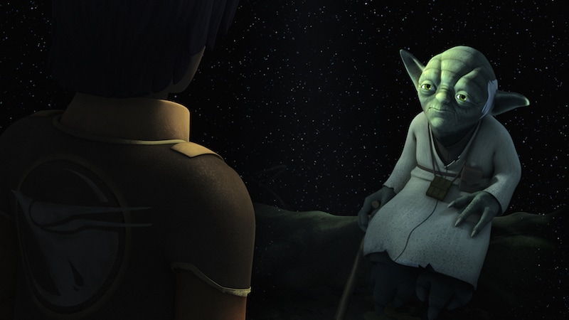 Yoda appearing to Ezra Bridger through the Force