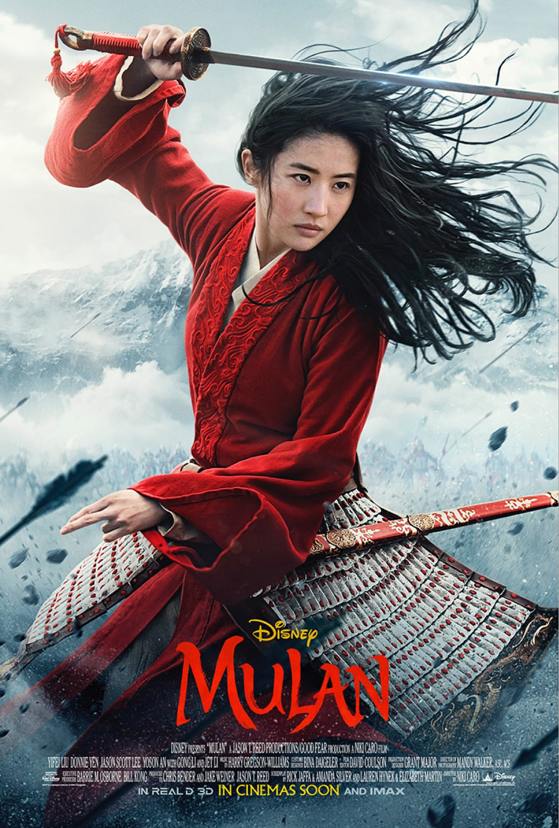 Mulan wielding a sword against a smoky background