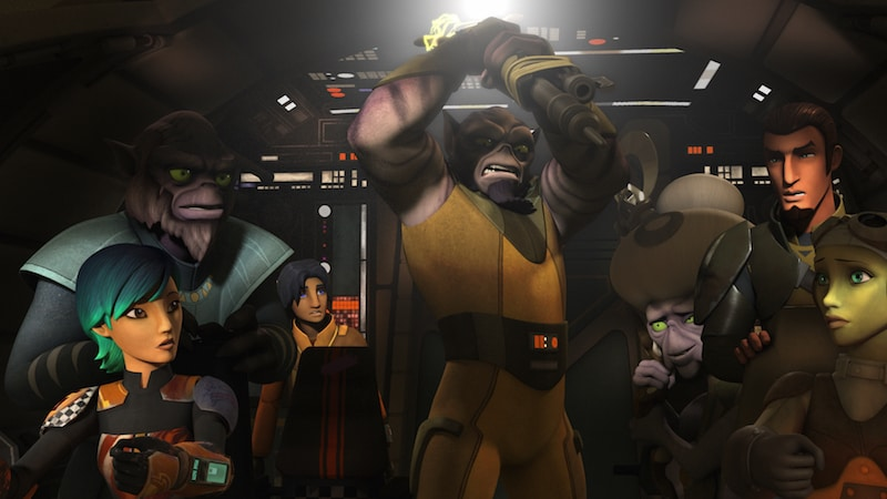Zeb Orrelios wielding his bo-rifle in the cockpit of the Ghost