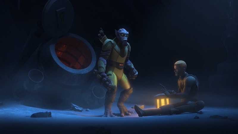 Zeb Orrelios and Agent Kallus surviving together on Bahryn